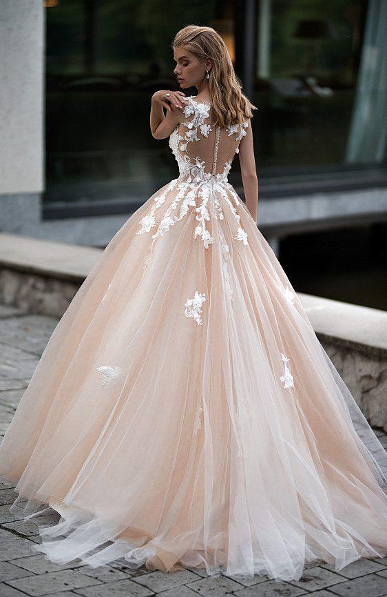Svadobné šaty čipkované vo farbe nude Wedding Gallery svadobný salón Bratislava