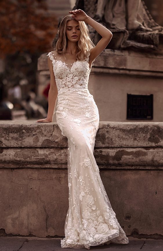 Svadobné šaty s odopínateľnou vlečkou 2v1 vo farbe nude