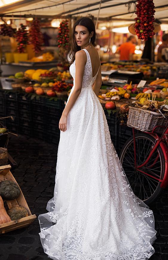 Svadobné šaty čipkované na ramienka z bielej čipky