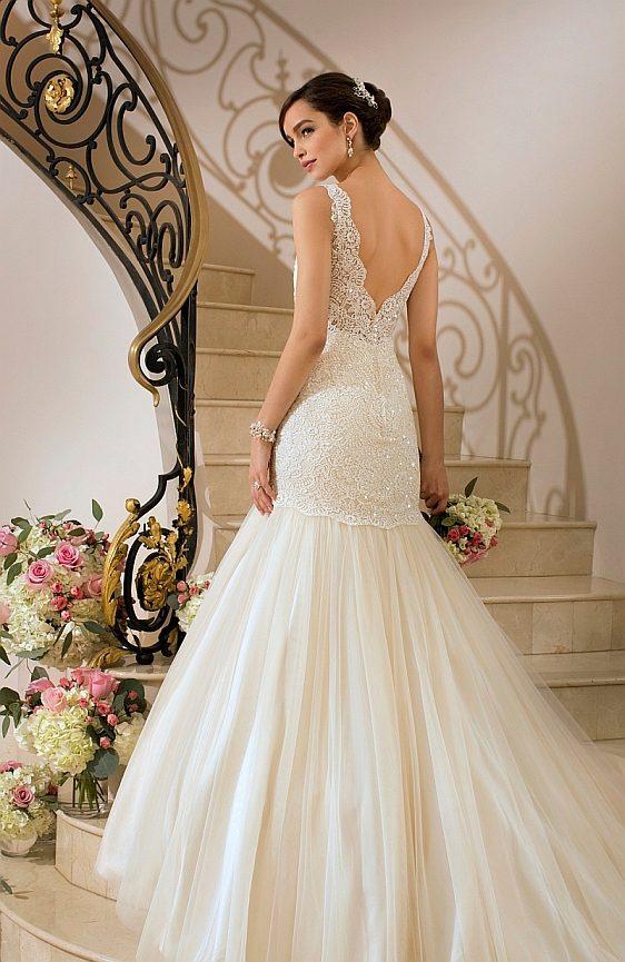 Svadobné šaty Stella York 5850a čipkované svadobné šaty